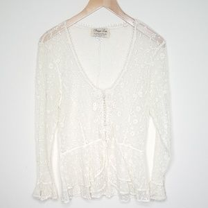 Vintage Sheer Lace Long Sleeve Ruffle Blouse